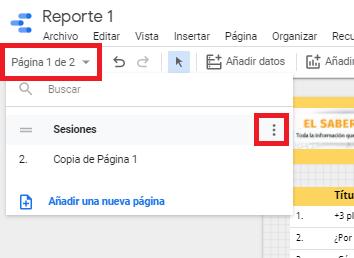 duplicar pagina data studio
